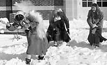 Image of girls' snowball fight--ca1943